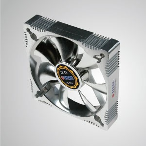 12V DC 120mm Aluminum Frame Cooling Fan with Electro-Plated from EMI / FRI Protection - Made 120mm aluminum frame cooling fan, it has more powerful heat dissipation and robust construction.