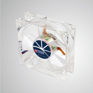 12V DC 80mm LED Transparent Cooling Fan with 9-blades - With transparent frame and 92mm silent 9-blades fan, creating a sparkling but low profile cooling performance
