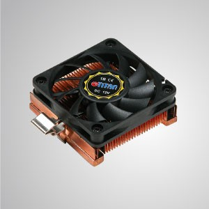 12V DC 1U/2U Intel Socket 370- Low Profile Design CPU Cooler with Copper Cooling Fins - Equipped with pure copper cooling fins, this CPU cooler can significantly strengthen thermal sink of CPU.