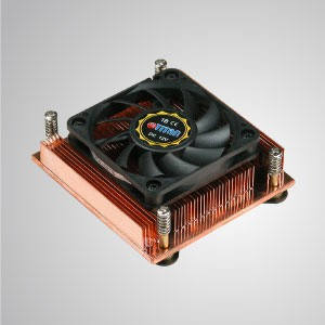 12V DC 1U/2U Intel Socket 478- Low Profile Design CPU Cooler with Copper Cooling Fins - Equipped with pure copper cooling fins, this CPU cooler can significantly strengthen thermal sink of CPU.