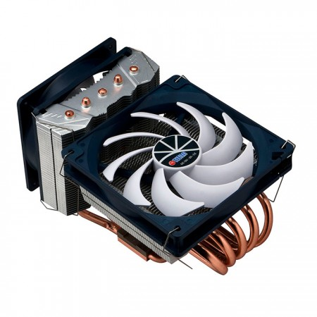 Universal- CPU Air Cooler with 5 Direct Contact Heat Pipes and both sideways and downward airflow cooling.