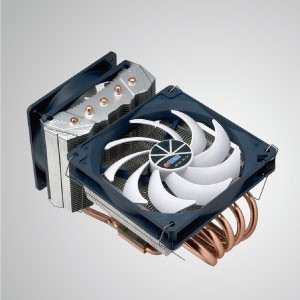 Universal- CPU Air Cooler with 5 DC Heat Pipes and Both Sideways and Downward Airflow Cooling / Wolf Fenrir Siberia/ TDP 220W - Cooling Wolf Series- Fenrir Siberia Edition - a CPU air cooler with 5 direct contact heat pipes and both sideways and downward airflow cooling. Provide you a powerful and useful CPU cooling cooler choice.