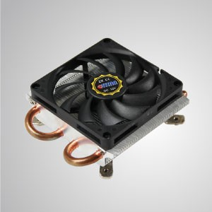 1U/2U Intel LGA 775- Low Profile Design CPU Air Cooler with 2 DC Heat Pipes and 80mm Silent Cooling Fan and Copper Base / TDP 115W - Equipped with 80mm silent cooling fan and pure copper base, this CPU cooler can significantly strengthen thermal sink of CPU