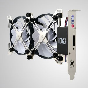 "12V DC Adjustable two fans PCI Slot VGA Cooling Cooler - With unique X-shaped dual cooling fans holder design, this VGA cooler features ""free style"". It can be freely equipped with 4 types of fan (60, 70, 80, 90mm)"