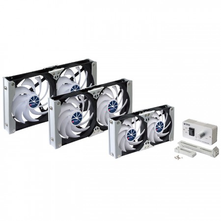 This is a multi-purpose rack mount cooling venitlation fan with manual and auto temperature speed controller. The fan is suitable for fridge fan in moterhome or cabinet ventilation.