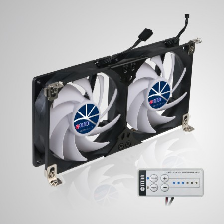 12V DC Double Rack Mount Ventilation Cooling fan for Refrigerator Vent and Ventilation Grille - Rack Mount cooling fan can be applied to refrigerator vent fan in motorhome, camper van, caravan, travel trailer, or be Audio/Vedio cabinet fan, TTC cabinet fan, home theater cabinet fan, amplifier ventilation fan
