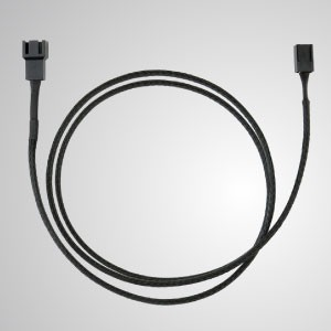3-Pin All Black Braided Cooling Fan Extension Cable –900mm Length - 3-Pin All Black Braided Fan Extension Cable