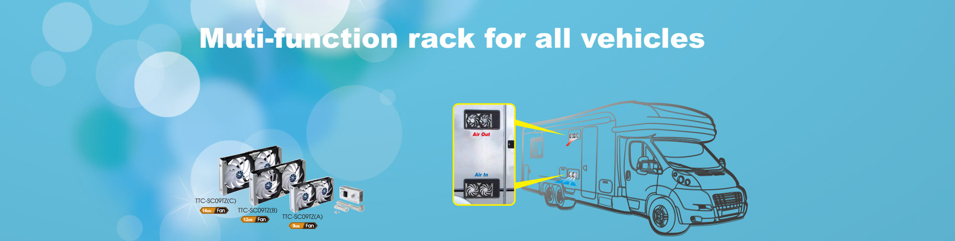 Multi-Function Rack Cooling Fan For all outdoor vehicles