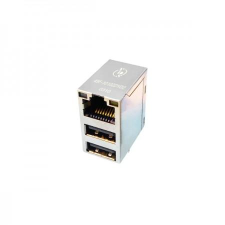 Single Port  10 / 100 / 1000 Base-T Dual USB Integrated RJ45 Jack with Magnetics - 4 in 1 Port 10 / 100 / 1000 Base-T Dual USB Integrated RJ45 Jack with Magnetics