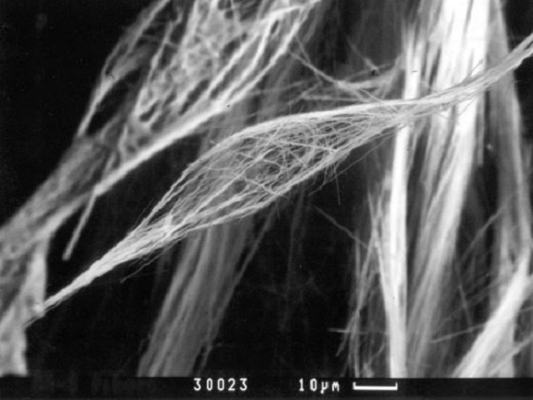 Silica fiber needle mat (1000°C) - SEM images of silica