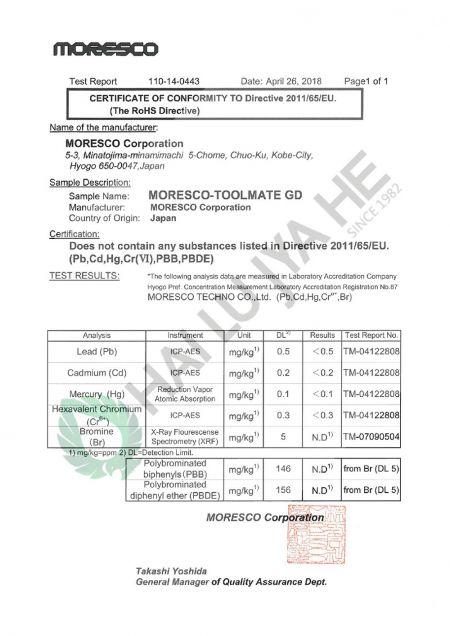 海陸家赫水性切削油GD的ROHS認證