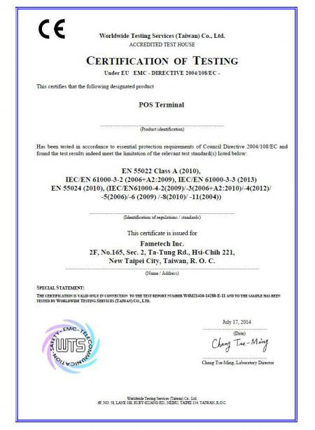 CE Certificate of Fametech (TYSSO)