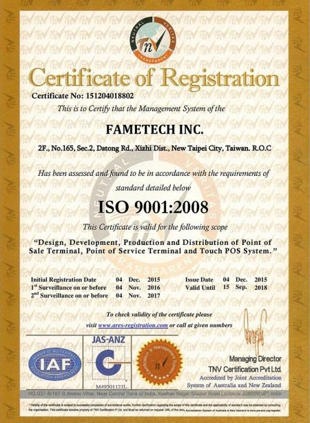 ISO-9001:2008certificate of Fametech (TYSSO)