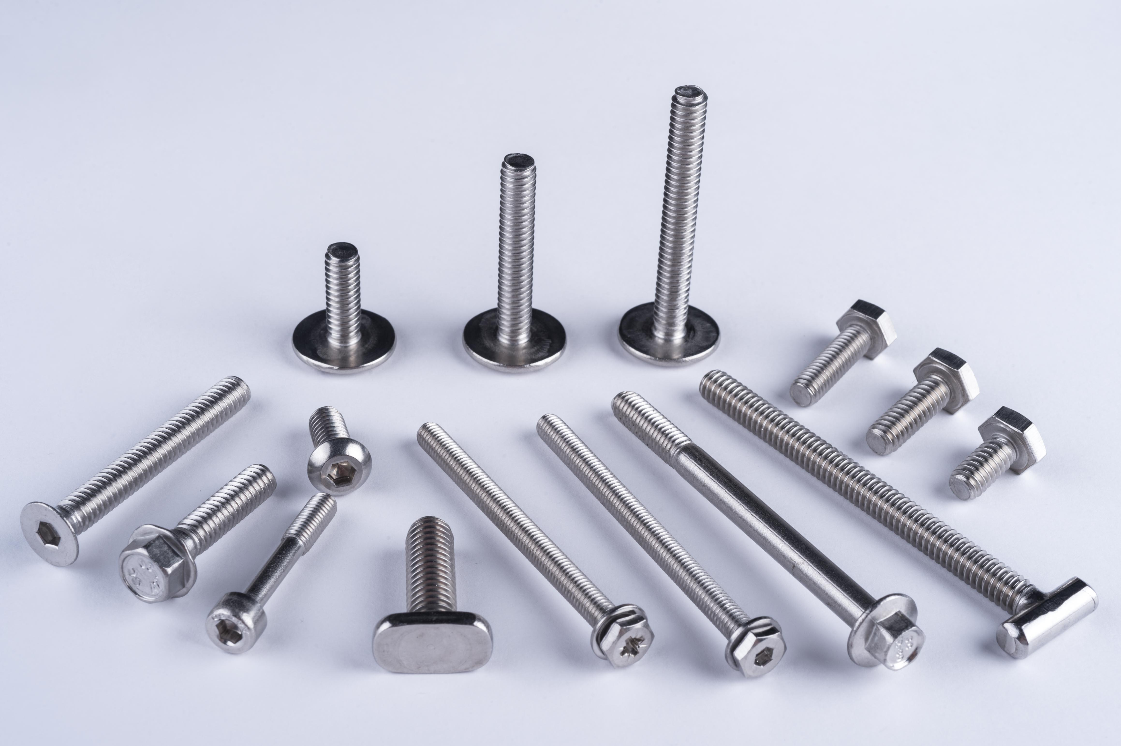 Hex head, Hex washer head, countersunk, round head, pan head machine screws.