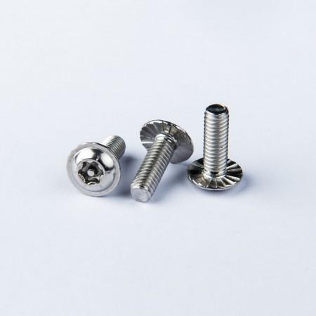 Flange Washer Head Machine Screw - Flange Washer Head Machine Screw w/ Six Lobe Recess w/ pin, Clockwise Serration under the head.