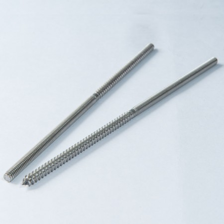 Double End Screw - Double End Screw, Single Side Machine Thread, Single Side Pointed Wood Thread
