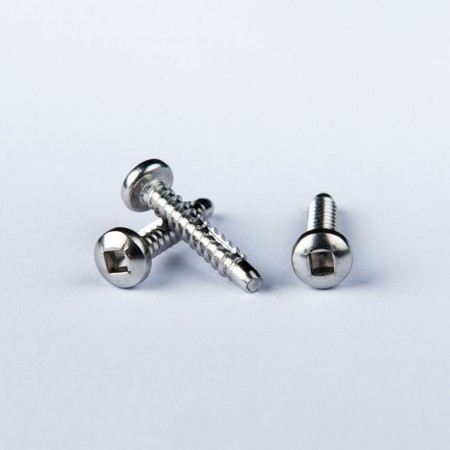 Pan Head Tapping Screw - Pan Head #1 Square Drive Tapping Screw Type B w/ Moon Cut on the thread & Chamfer on the point