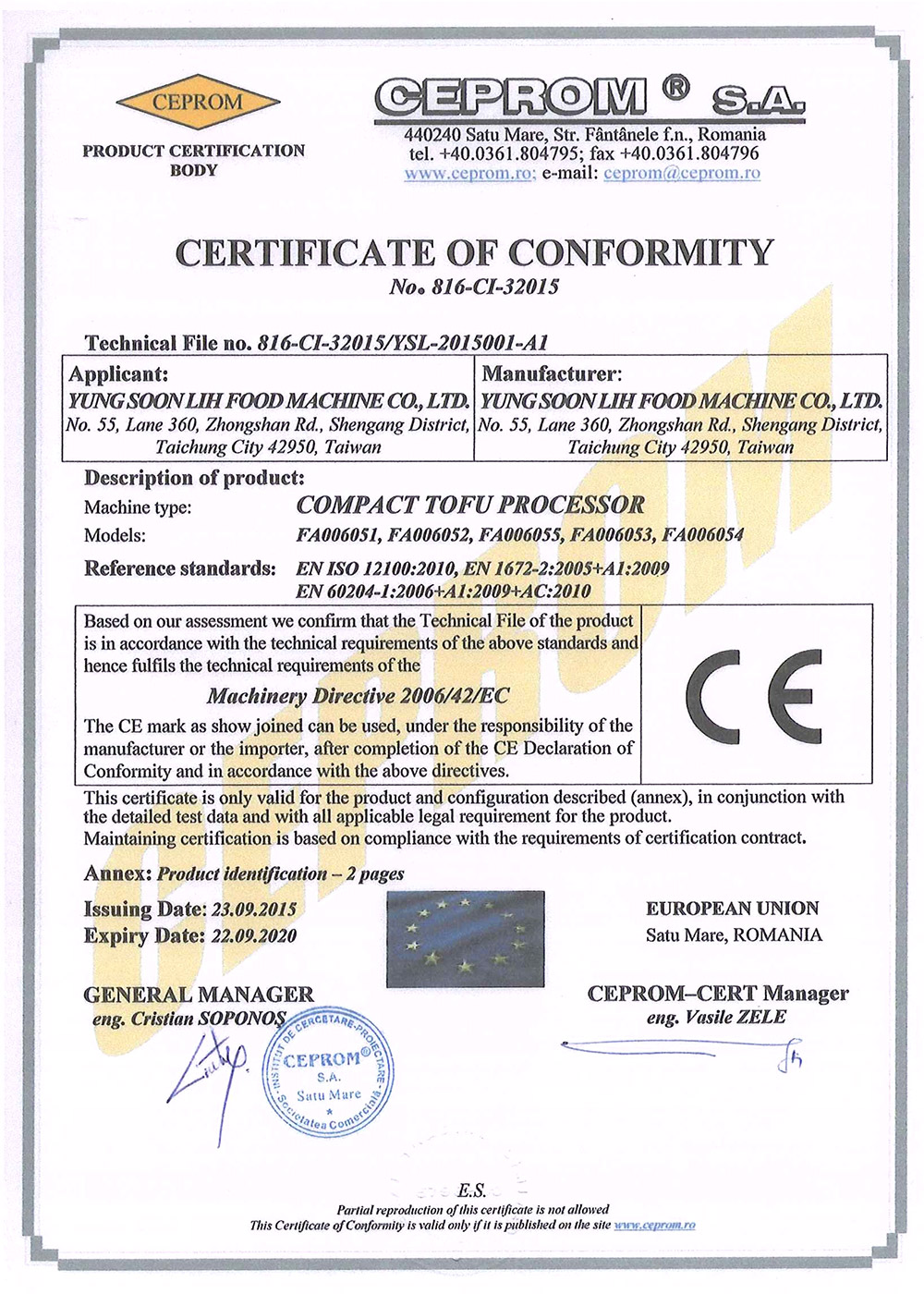 Certificate and patent yung soon lih food machine co ltd compact tofu processor 1betcityfo Choice Image