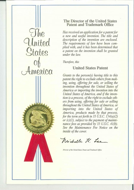 USA Patent No. US9010789B1-P1