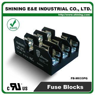 FB-M033PQ For 10x38mm Fuse 600V 30 Amp 3 Position Midget Fuse Block - FB-M033PQ 600V 30 Amp 3 Position Midget Fuse Block