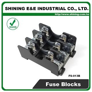 FS-013B For 6x30mm Fuse Din Rail Mounted 600V 10A 3 Way Fuse Block