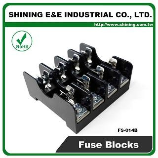 FS-014B For 6x30mm Fuse Din Rail Mounted 600V 10A 4 Way Fuse Block