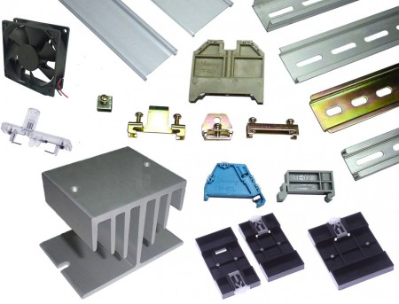 零件 - Din Mount Rail & End Clamp Bracket & Power Failure Indicator & Din Rail Adapter & Heat Sink and Fan