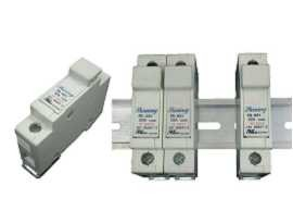 FS-03X Series Din Rail Mounted 10x38 RT18-32 Cartridge 600V 32A Fuse Holders - FS-031 & FS-032 Din Rail Mounted Fuse Holders