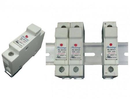 FS-03XL2系列 10x38 RT18-32 600V 32A 軌道式保險絲座 - FS-031L2 & FS-032L2 軌道式保險絲座