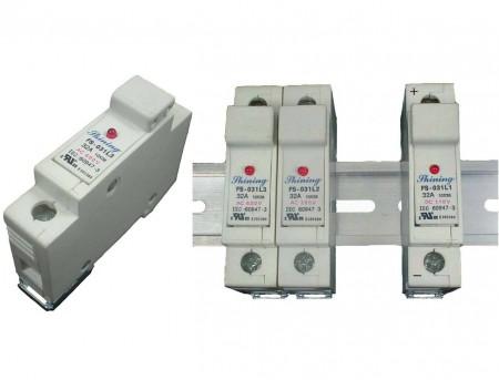 FS-03XL3系列 10x38 RT18-32 600V 32A 軌道式保險絲座 - FS-031L3 & FS-032L3 軌道式保險絲座