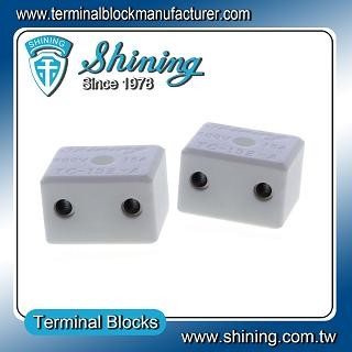 TC-152-A Panel Mounted 600V 15A 2 Pole Ceramic Terminal Block - TC-152-A 15A 2 Pole Ceramic Terminal Block