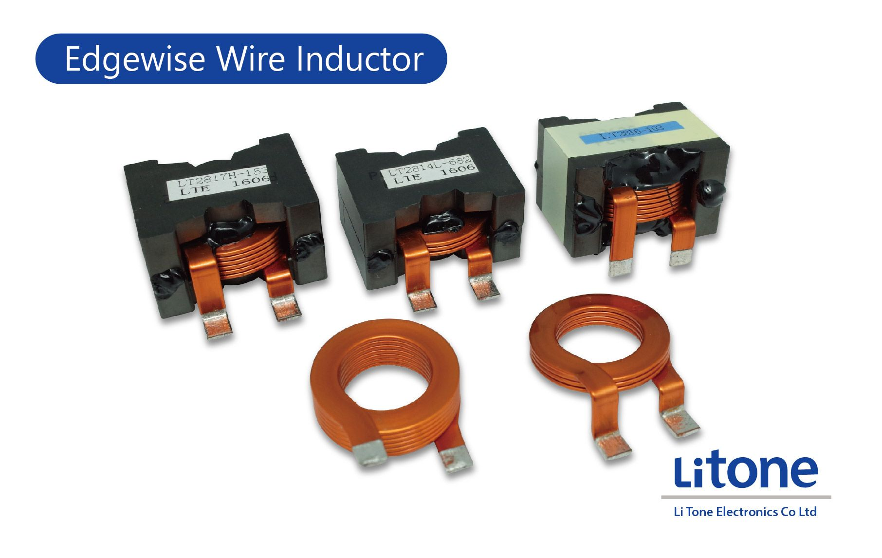 High Current Inductor with Flat Wire in PQ Type