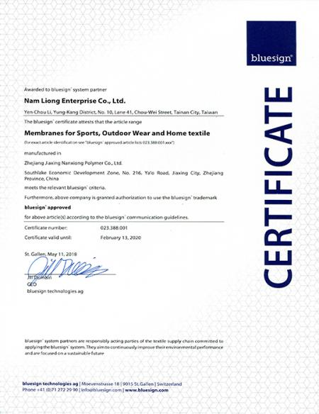 JiaXing NanXiong Polymer Co., Ltd. BlueSign certificado