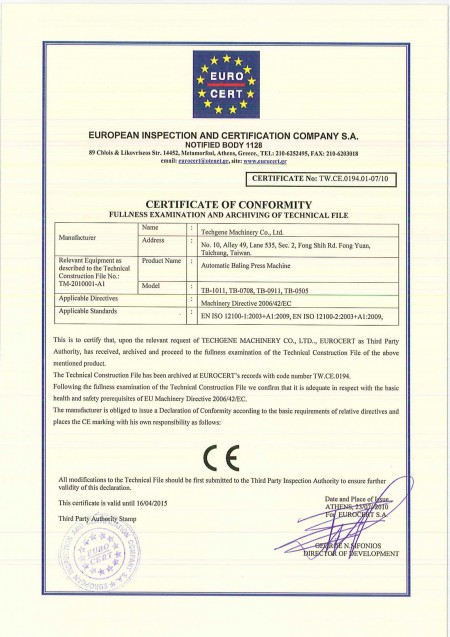 TW.CE Certificats for balers - TW.CE Certificate for balers