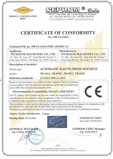 CEPROM S.A. Certificats for balers - CEPROM S.A. Certificats for balers