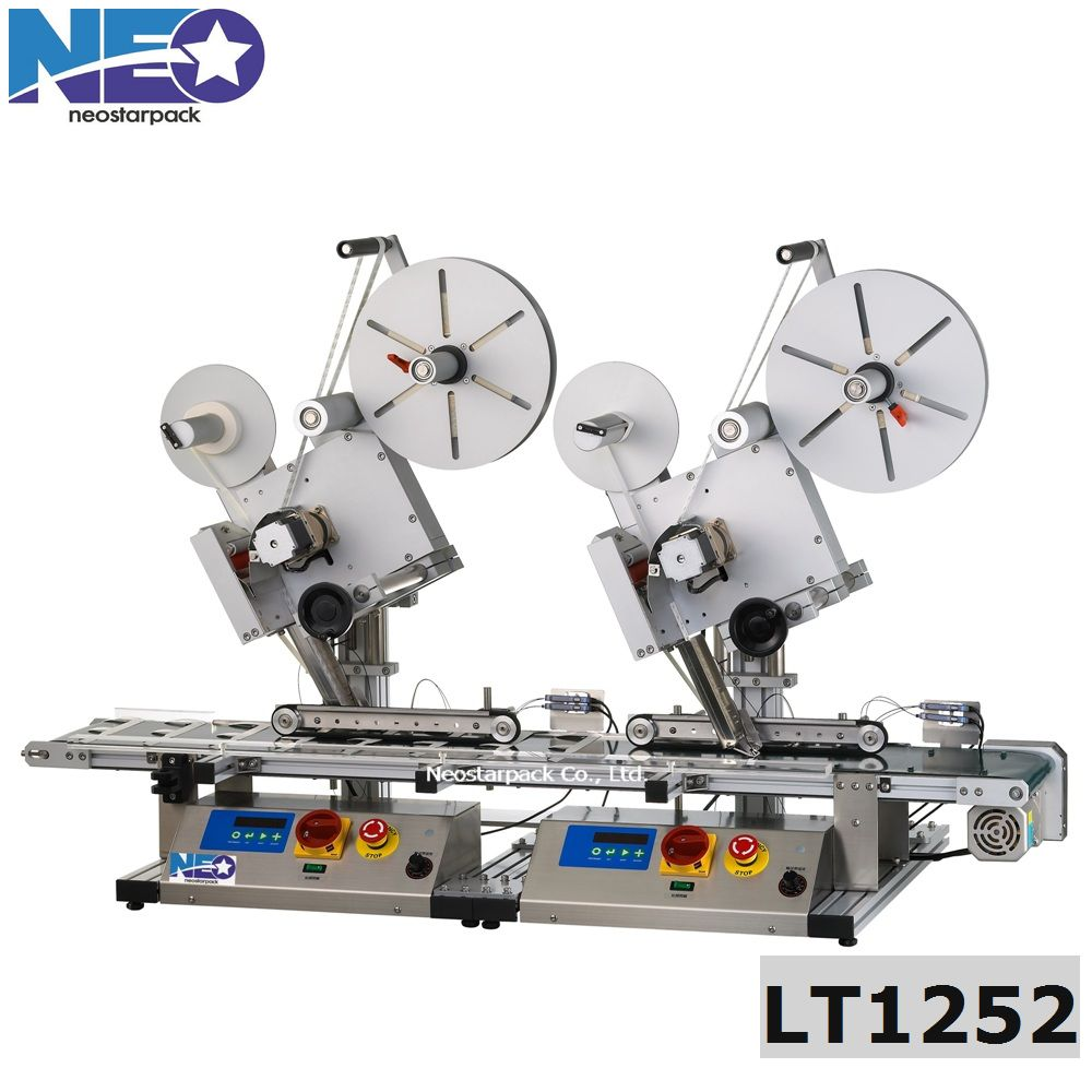 Tabletop two-sided labeling machine