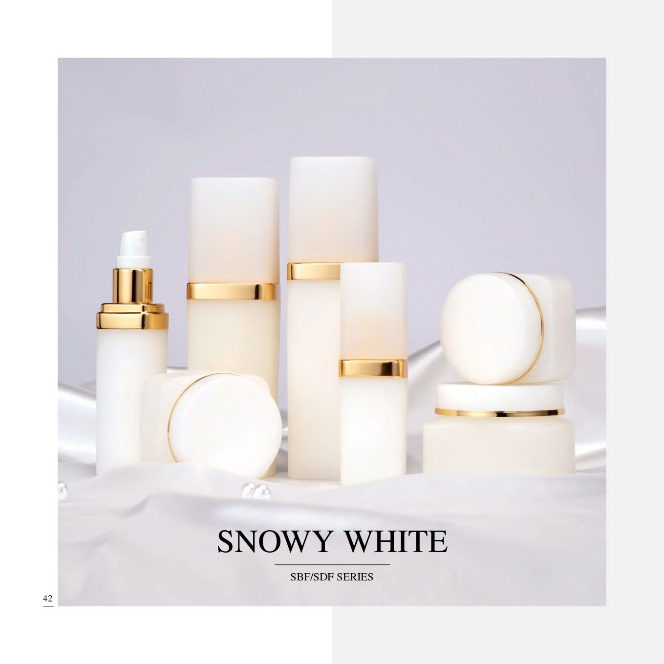 Square shape PP Luxury Cosmetic & Skincare Packaging - Ecofriendly PP Cosmetic Packaging Collection - Snowy White