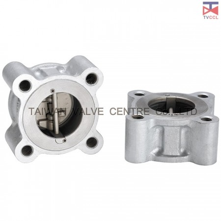 Dual Plate Full Lug Wafer Type Check Valve With Retainerless - Full Lug Design. Retainerless check valve clamped between flanges with bolting around outside of valve. It is No screwed body Retainer (plugs).