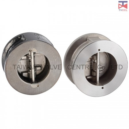 Dual Plate Wafer Type Check Valve With Retainerless - Retainerless wafer type check valve clamped between flanges with bolting around outside of valve. It is No screwed body Retainer meaning, no penetration through the body.