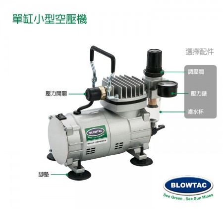 小型空壓機選擇配件圖:濾水器/ 壓力表/ 調壓閥