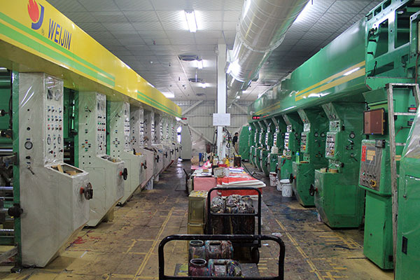 Photo of printing department in Chun Yu plastic, supplier of gift wrapping paper