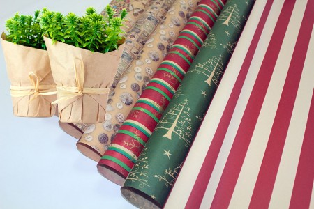 Brown Kraft Paper With Printing Flower Wrapping & Gift Wrapping Paper - Brown Craft Flower Wrapping in Rolls and Sheets