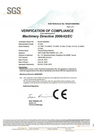 Yieh Chen Thread Rolling Machines are in compliance with CE standard.