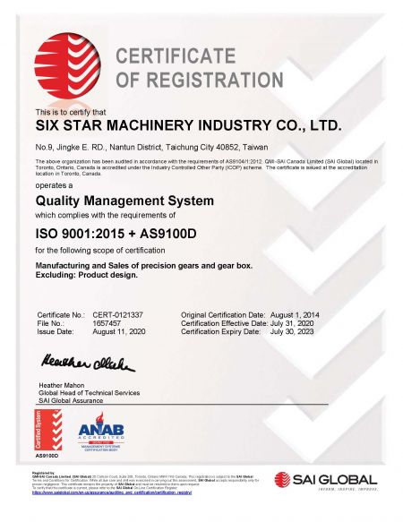ISO 9001 + AS9100C Aerospace Quality System Certificate