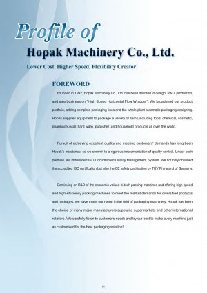 Hopak Machinery Foreword