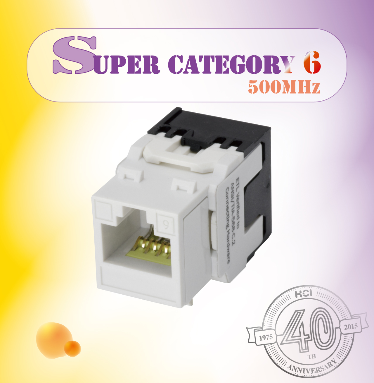 Super Category 6 Component Level 180° UTP Punchdown Keystone Jack - Super Category 6180° UTP Punchdown Keystone Jack