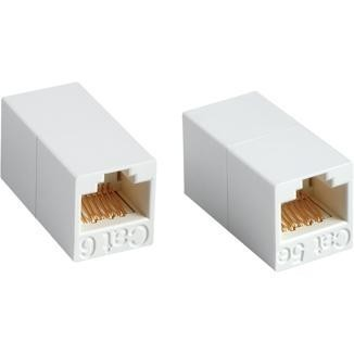 180° RJ45 Cat 6 UTP Feed-Through In-Line Coupler