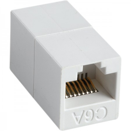 180° RJ45 Cat 6A UTP Feed-Through In-Line Coupler