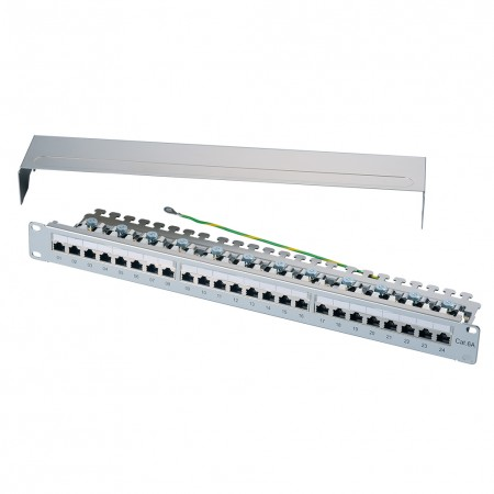 1U 24-Port STP Modular Patch Panel with O Grounding Bar