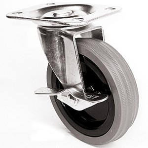 """4"""" x 15/16"""" Swivel Top Plate Casters With Gray Rubber Wheels - 4"""" x 15/16"""" Swivel Top Plate Casters With Gray Rubber Wheels"""